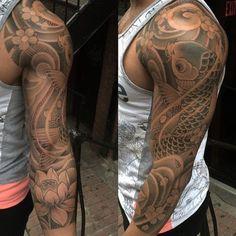 Traditional tattoo sleeves by tattoo splendor. Koi Tattoo Sleeve, Carp Tattoo, Koi Fish Tattoo, Japanese Sleeve Tattoos, Tattoo Sleeves, Tattoo Ink, Chris Garver, Tribal Tattoo Designs, Japanese Tattoo Designs