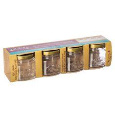 Kilner Set of 4 Shot Jars With Lids, Unique jar shaped shot glasses. Include lids for extra freshness. shot glass jars, All Food and Jam Preserving Jars