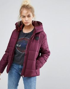 Converse Padded Jacket In Burgundy
