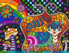 Psychedelic colourful drawings by Liquid Mushroom - Andrei Verner