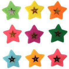 Estrella con perlas de fieltro 3 cm surtido x9 - Fotografía n°1