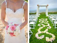 Swirled rose petals in lieu of an aisle runner. De Young Flowers, San Francisco Bay Area.