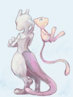 """TEGAKI Blog - - ツムキ""""'s Blog- Mewtwo and Mew"""