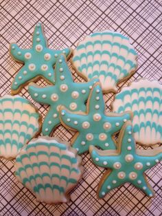 1 Doz Starfish & Seashell Decorated Sugar Cookies - Turquoise Aqua Wedding Favor - Beach Theme - Birthday Party on Etsy, $34.95