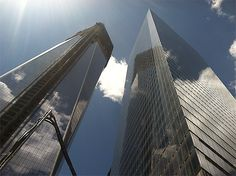 World Trade Center towers side-by-side: 1 WTC (under construction) and 7 WTC