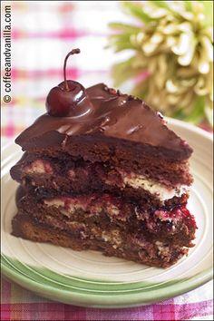 Black Forest Cake / German Schwarzwälder Kirschtorte - Coffee and Vanilla