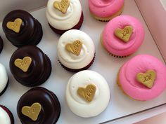 """Georgetown Cupcake """"Charm Dozen"""" - a mix of Red Velvet, Chocolate Squared and Bubblegum Pink Vanilla all with gold heart charms"""