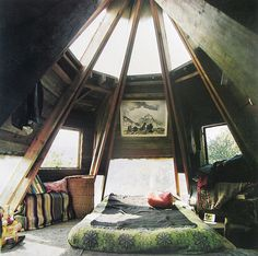 Attic Under a Turret. I've always been an attic kinda girl. My childhood bedroom was in an attic and my first flat was in the attic of a garage - Oh those comforting sloping walls!