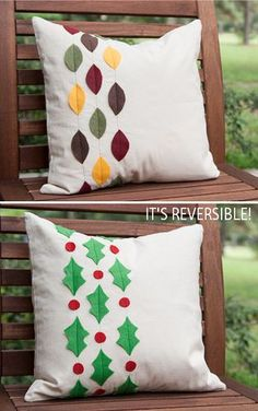Reversible Pillow Case Tutorial 3 by stitchedbycrystal, fall and winter in one pillow