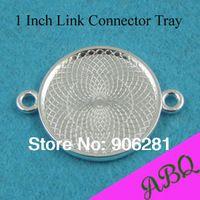 25 mm plata brillante Dual Loop ronda enlace conector bandeja, 1 pulgadas enlace ajustes, enlaces de conectores para el vidrio y pulseras
