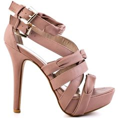 You'll have them blushing in this enchanting sandal.  Mieko by Just Fabulous is made up of a blush synthetic leather that creates a knot and twist upper.  Two adjustable buckles create a snug fit while a 5 inch heel and 1 inch platform deliver fierce height.