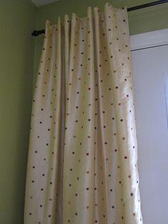 Pier 1 polka dot curtains, pale gold
