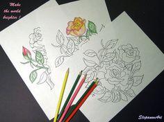Раскраска  антистресс для взрослых  РОЗЫ   Для от StepanovArt