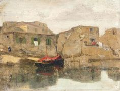 Oikonomou Michalis - Red boat by the sea Greek Paintings, Name Paintings, Greece Map, Painting & Drawing, Painting Styles, Greek Art, 10 Picture, Fashion Painting, Antique Maps