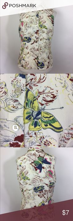 "CAbi #245 Silk Butterfly Print Blouse size 12 (L) ****Why so cheap??****  **The blouse needs dry cleaned** There is some yellowing to the underarms on the outer layer. There's no holes or other issues. 100% silk print with polyester lining. Size 12 21"" across underarms  23"" back of neck to hem CAbi Tops Blouses"