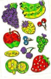 Foil embossed fruit stickers - 1990's