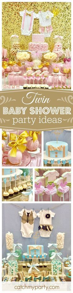 Take a look at this charmingly sweet baby shower for twins. Love the separate dessert tables for each gender! See more party ideas and share yours at CatchMyParty.com