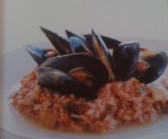 stirred tomato risotto with mussels  (i make it with chorizo instead of mussels and can add spinach too)