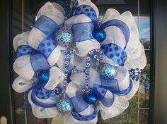 silver+and+burgundy+mesh+ribbon+christmas+wresths | Blue and White Mesh Christmas Wreath with ... | Christmas Ideas and D ...