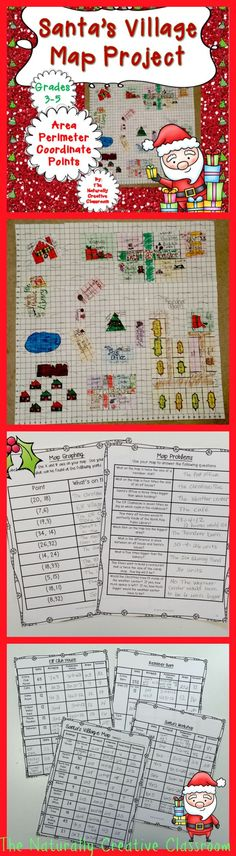Christmas Area and Perimeter Map Project Math Resources, Math Activities, Third Grade Math, Fourth Grade, Christmas Math, Xmas, Map Projects, Santa's Village, Area And Perimeter