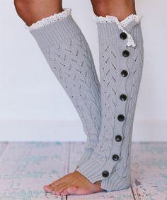 Light Gray Button Leg Warmers - Women #zulilyfinds
