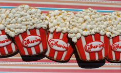 popcorn cookies made with a cupcake cookie cutter
