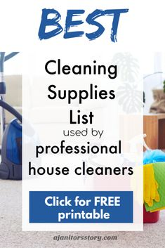 Cleaning supplies list used by housekeepers.  Here's a list of basic cleaning supplies for your house cleaning service business.  Including disinfectants used for post sick cleaning! FREE printable for professional house cleaners.  #ajanitorsstory #cleaningsupplies Cleaning Items, Cleaning Companies, Best Cleaning Products, House Cleaning Services, House Cleaning Tips, Cleaning Supplies, Spring Cleaning, Cleaning Supply List, Deep Cleaning Checklist