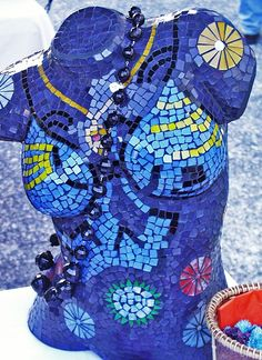 Mosaic Mannequin Torso Lamps – BrisbaneMannequin Madness sells used and distressed mannequins and mannequin parts to artists to have a canvas to create projects like this.