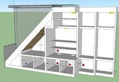 rangement sous escalier - Recherche Google Home Building Design, House Design, Under Stairs Wine Cellar, Stairway Storage, Stair Banister, Slanted Walls, Wardrobe Room, Bungalow Renovation, Upstairs Bedroom