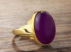 REAL 10k Solid Yellow Gold Men's Ring with Purple Amethyst Gemstone $169.00