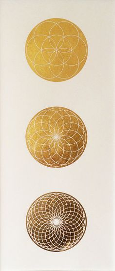 Seed of Life Spirograph series - Gold Leaf Illumination Home Decor Sacred Geometry Gift Minimalist Wall Hanging by MerkavahMarket on Etsy https://www.etsy.com/listing/242919974/seed-of-life-spirograph-series-gold-leaf