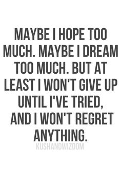 Maybe I hope too much. Maybe I dream too much. But at least I won't give up until I've tried and I won't regret anything.