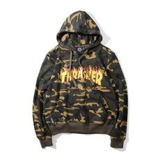 2e159f26dc5b Thrasher Camo  Up in Flames  Hoodie