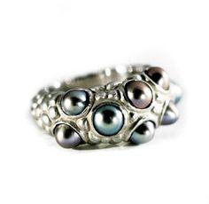 "Anu Kaartinen for AU3 Kultasepät ~""Neptuna"" pearl ring - sterling silver and freshwater pearls.   AU3.fi"