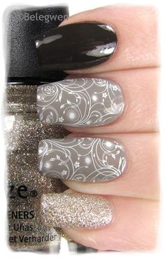 Nail Art by Belegwen: OPI Get In The Expresso Lane, OPI French Quarter for Your Thoughts China Glaze Im Not Lion