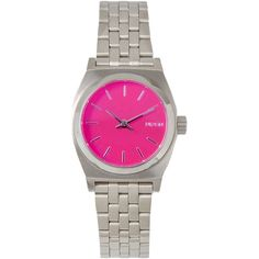 Nixon Wrist Watch ($145) ❤ liked on Polyvore featuring jewelry, watches, fuchsia, nixon, stainless steel jewelry, nixon wrist watch, fuschia jewelry and nixon watches