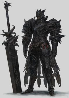 Men in fantasy art — Sanha Kim Black Knight Fantasy Concept Art, Weapon Concept Art, Armor Concept, Fantasy Armor, Fantasy Weapons, Fantasy Character Design, Dark Fantasy Art, Character Concept, Character Art