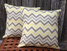 Gray and Yellow Chevron Decorative Throw by SewSimplyBlessed, $10.00