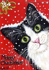ACEO TUXEDO CAT MERRY CHRISTMAS LTD EDITION PRINT FANTASY PAINTING ANNE MARSH