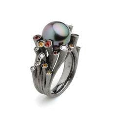 Fei Liu 'Dawn' pearl and black gold #ring