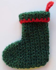 Mini Cuffed Christmas Stocking by My Recycled Bags - Crochet Pattern Bonanza Knitted Christmas Stocking Patterns, Mini Christmas Stockings, Crochet Stocking, Mini Stockings, Crochet Christmas Ornaments, Holiday Crochet, Halloween Crochet, Easter Crochet, Christmas Knitting
