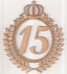 brasão coroa ramos 90cm letra ou número mdf