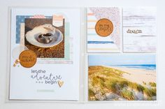 """TurquoiseAve.com 6x8 Project Life Scrapbook Layout feat. Little Lamm Co. """"Coastal"""" Collection for #HashtagThisWeek - Great nautical, beach, seaside theme!"""