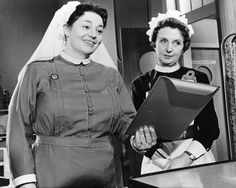 Hattie Jacques and Joan Hickson in Carry On Nurse. 1959