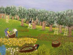 Rachel Knopp - Olive trees Olive Tree, Naive Art, Artist Gallery, Artist Painting, New Friends, Folk, Galleries, Tree Paintings, Trees