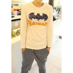 $11.70 Casual Scoop Neck Batman Pattern Slimming Long Sleeves Polyester T-Shirt For Men