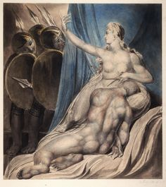"William Blake: ""Samson Subdued"" (c. 1800-03). Illustration for the Bible (Old Testament), object 1 (Butlin 455). Pencil, pen and ink, and water color. Philadelphia Museum of Art, Philadelphia, USA"