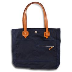 Waxed Canvas Tote - Navy/Saddle Tan  $185.00  By 3sixteen  Made in the USA