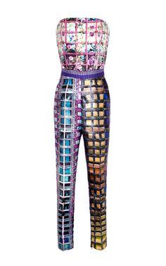 Shop Lanta Jacquard Strapless Jumpsuit by Mary Katrantzou for Preorder on Moda Operandi Fashion Prints, Love Fashion, Runway Fashion, High Fashion, Fashion Design, London Fashion, Fitted Jumpsuit, Strapless Jumpsuit, Holy Chic