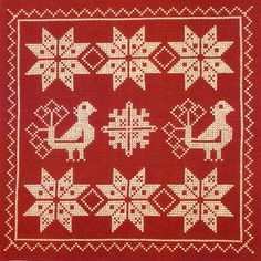 Swedish Birds and Snowflake tablecloth